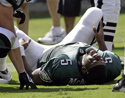 Philadelphia Eagles vs. Carolina Panthers, 38-10. McNabb left the game with a cracked rib. Adjust your fantasy teams accordingly, and here's to a speedy recovery :\