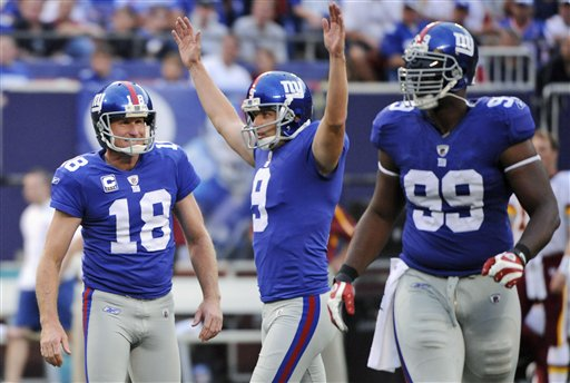 NY Giants vs. Washington Redskins, 23-17. Tynes was definitely the hero of the game, scoring 3 field goals including this 45 yarder.