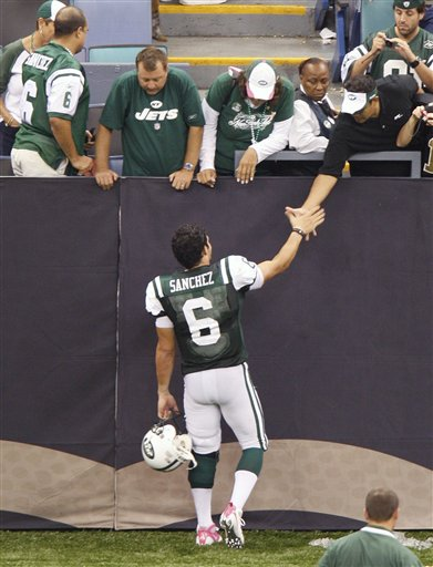 Saints 24, Jets 10. Here's Mark Sanchez's booty.