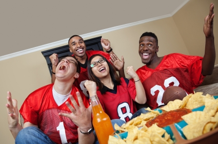 There apparently is no such thing as a Super Bowl party image that looks natural and does not feature food.